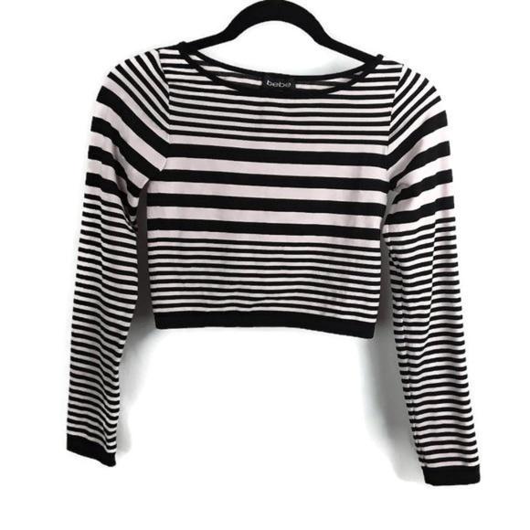 bee6c073d67 bebe Tops | Light Pink Black Stripe Crop Top | Poshmark